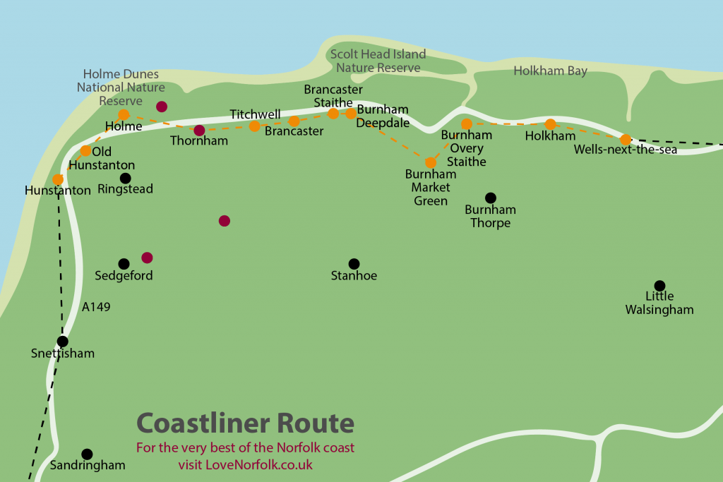 CoastLiner Coasthopper Norfolk Coast Bus Route Map