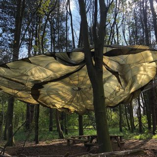 What fun! Parachute in the woods at the Hideaway #norfolkcoast #wildluxury #glampinglife #norfolkglamping #escapetothecountry #norfolkhideaways